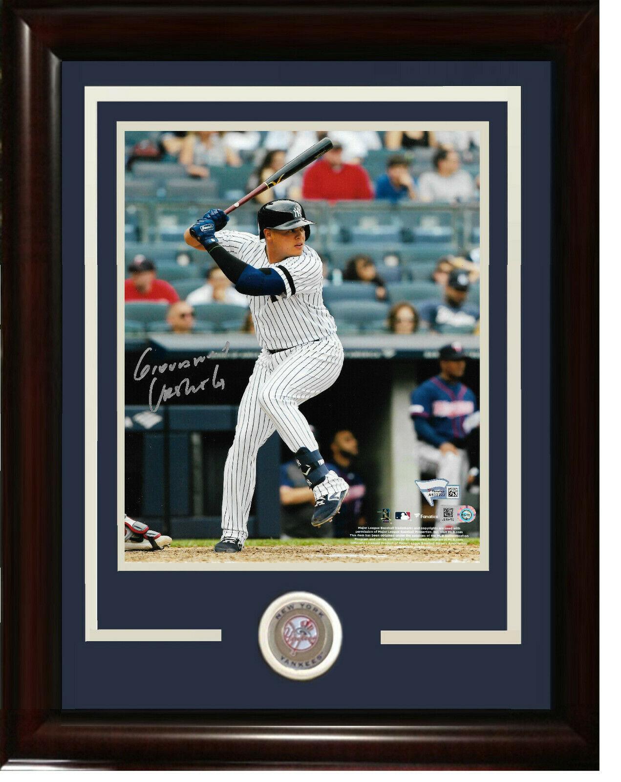 Giovanny Gio Urshela signed 8×10 photo framed Yankees coin auto Fanatics COA