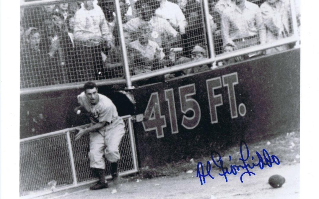 Al Gionfriddo Signed 8×10 Photo 1947 brooklyn Dodgers World Series CATCH CBM COA