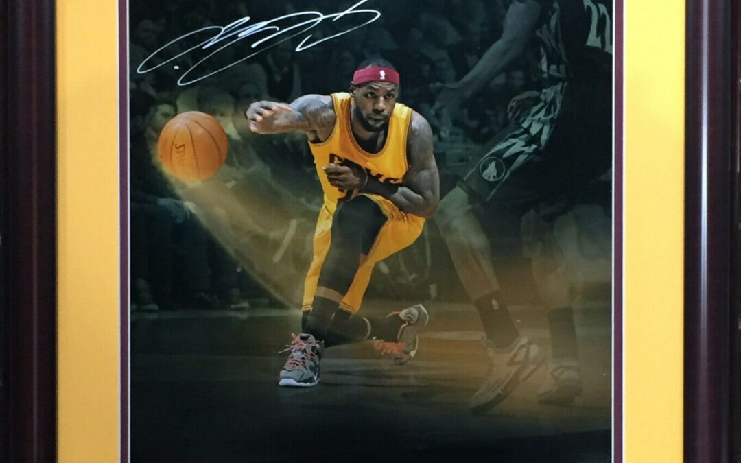 Lebron James Cavaliers Signed 16×20 Photo framed Auto UDA holo 2020 Finals MVP