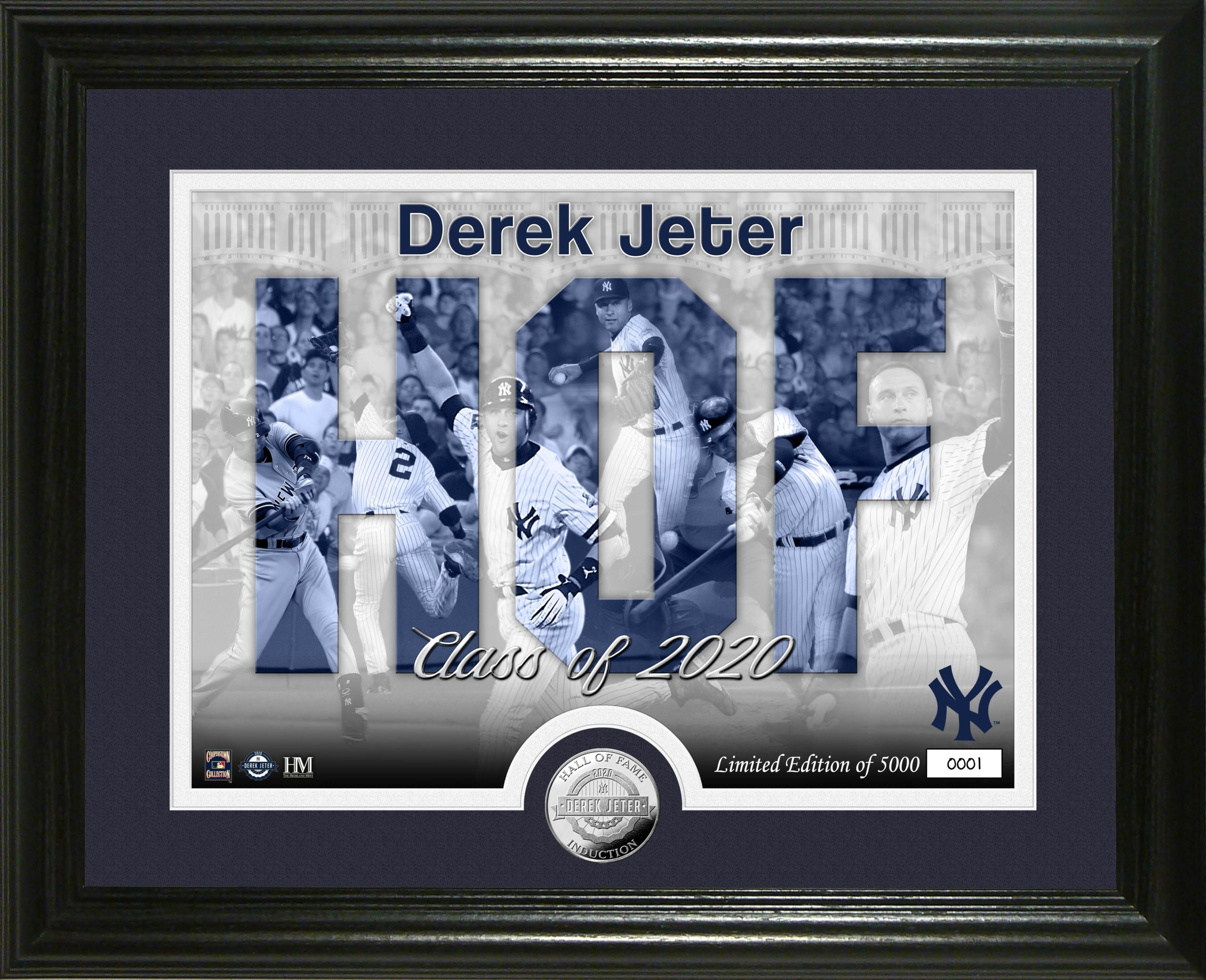 Derek Jeter Yankees HOF class of 2020 8×10 photo framed highland mint coin LE