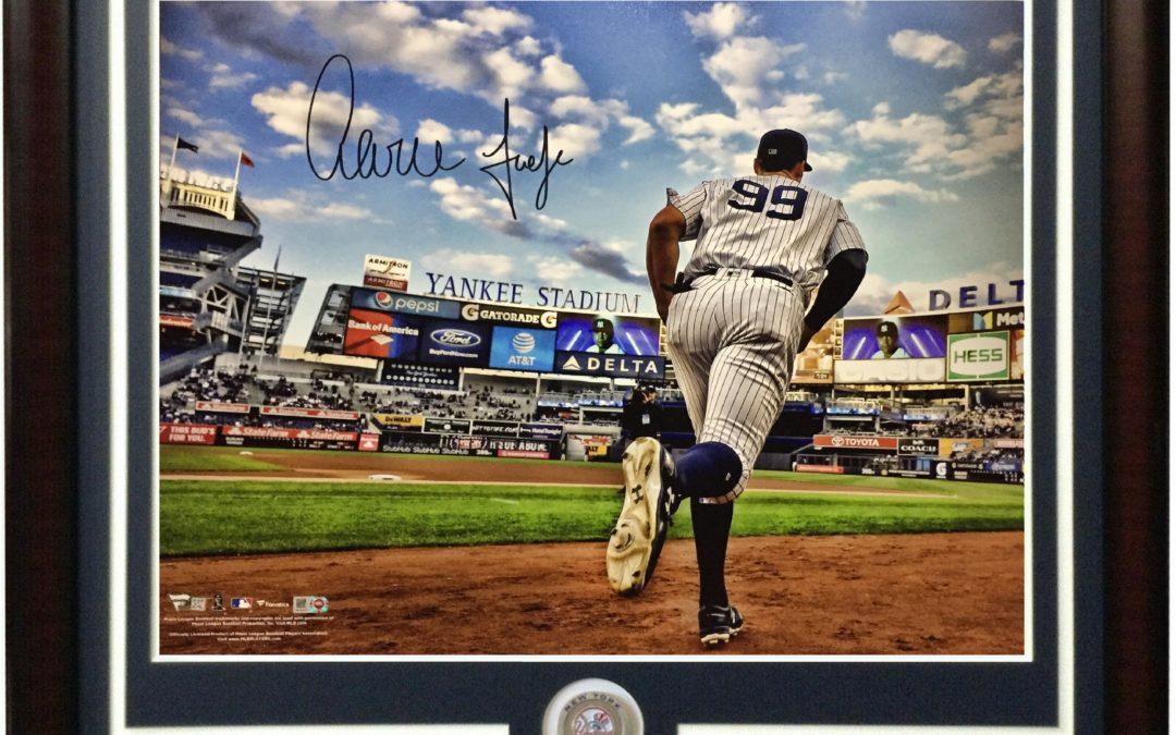 Aaron Judge signed 16×20 photo framed Yankees coin autograph Fanatics COA