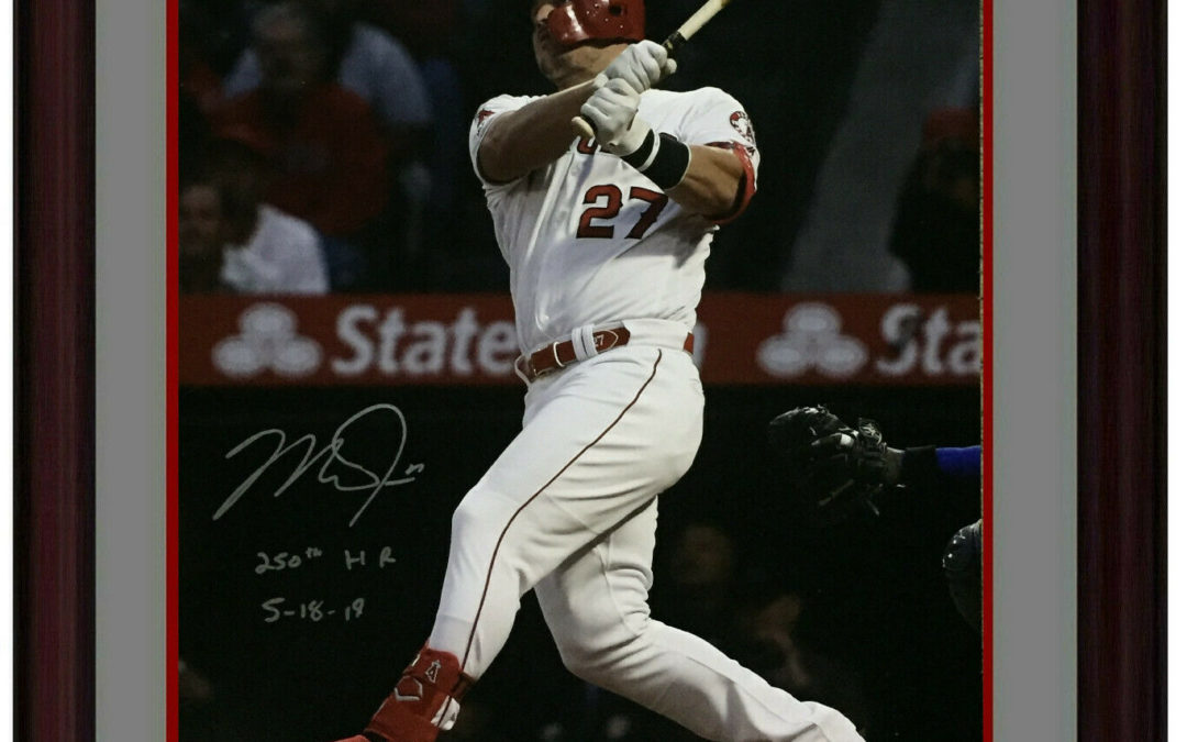 Mike Trout signed 16×20 photo INS 250th HR 5-18-19 framed autograph MLB Holo COA