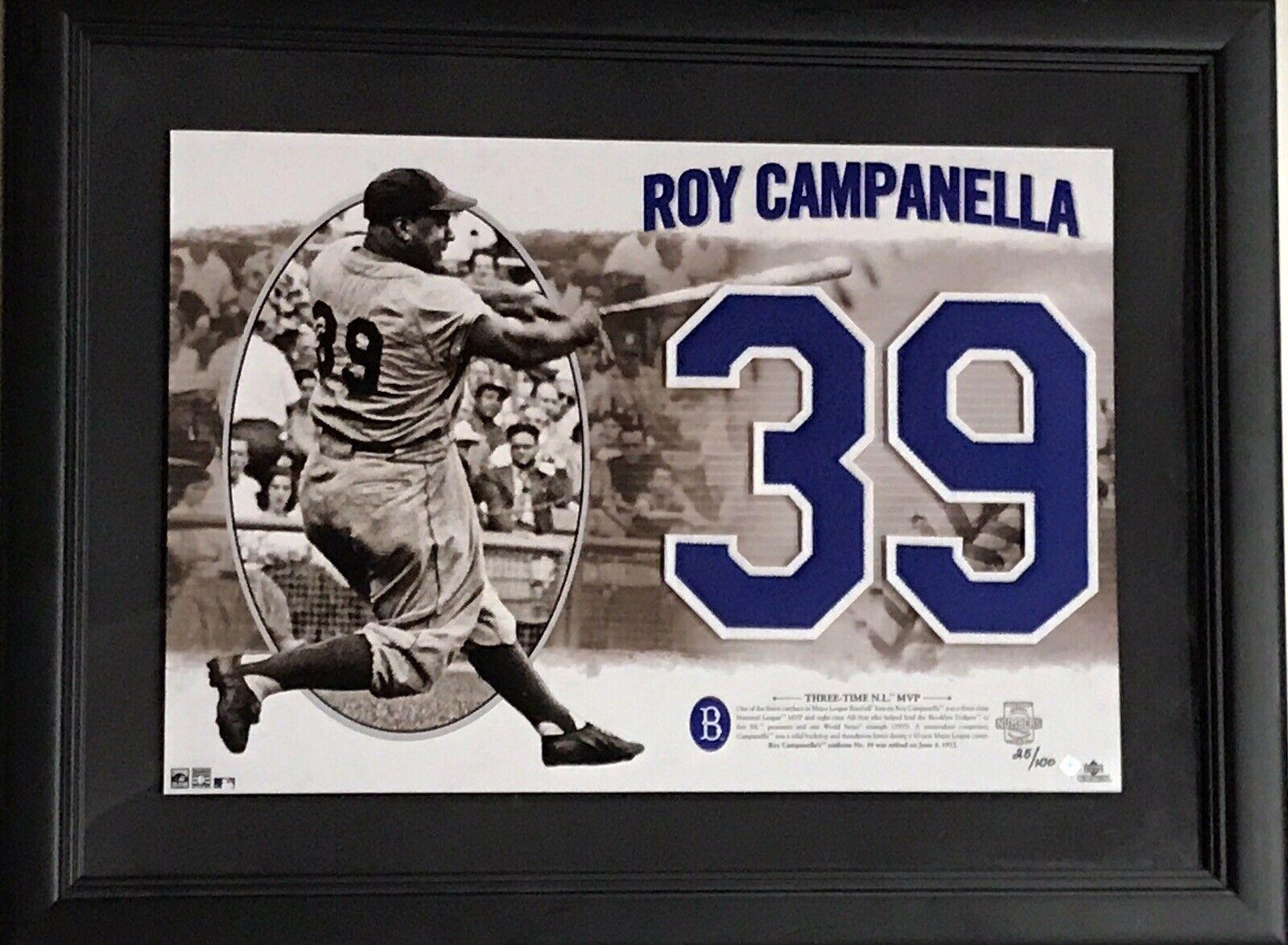Roy Campanella Brooklyn Dodgers #39 Felt Upper Deck Photo Framed HOF LE /100