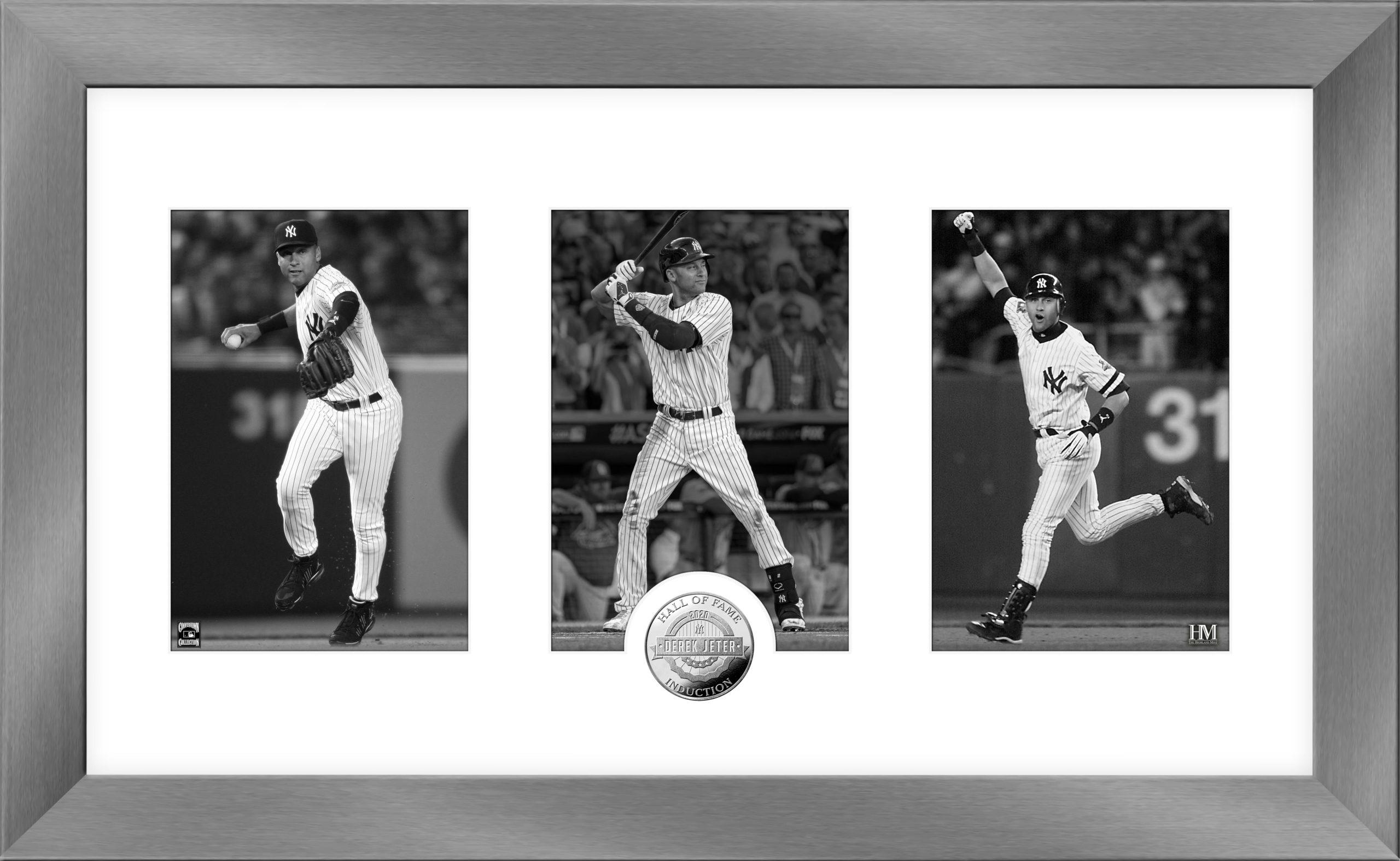 Derek Jeter Yankees HOF 2020 career 3 photo coin Highland Mint framed LE /5000