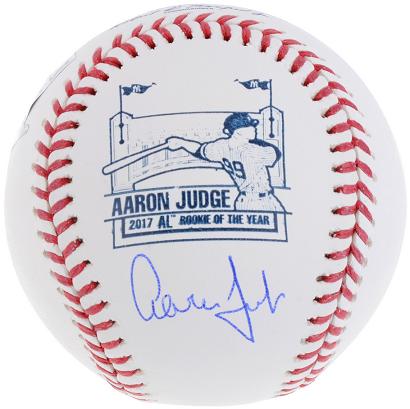 Aaron Judge Yankees signed 2017 ROY Logo baseball autograph Fanatics COA