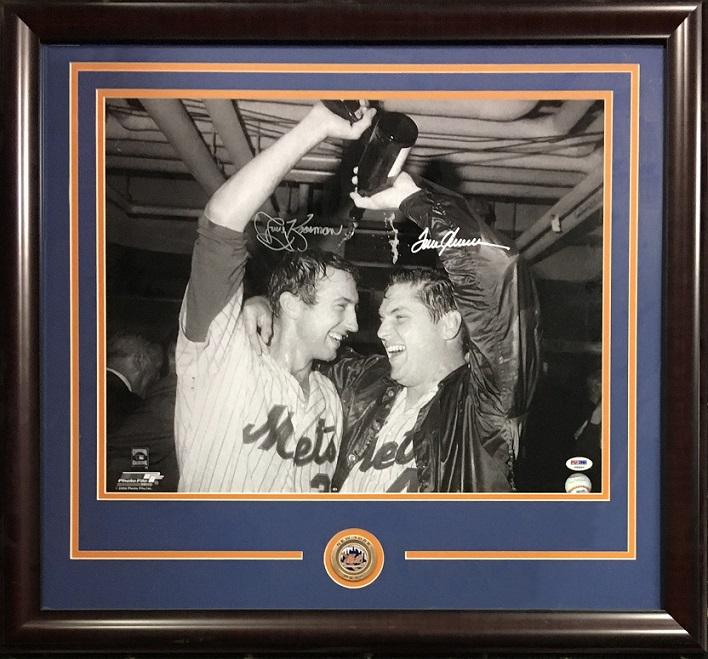 Tom Seaver Jerry Koosman 1969 Mets signed 16×20 photo framed coin 2 auto PSA COA