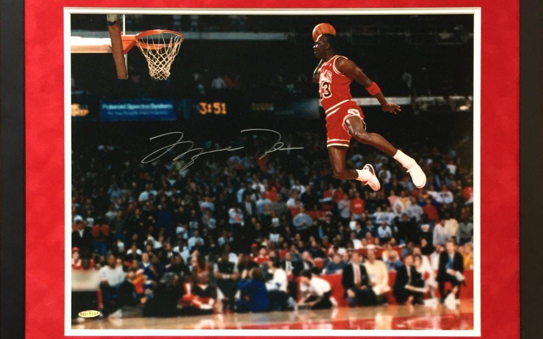 Michael Jordan signed 16×20 Gatorade Dunk photo framed suede UDA Holo