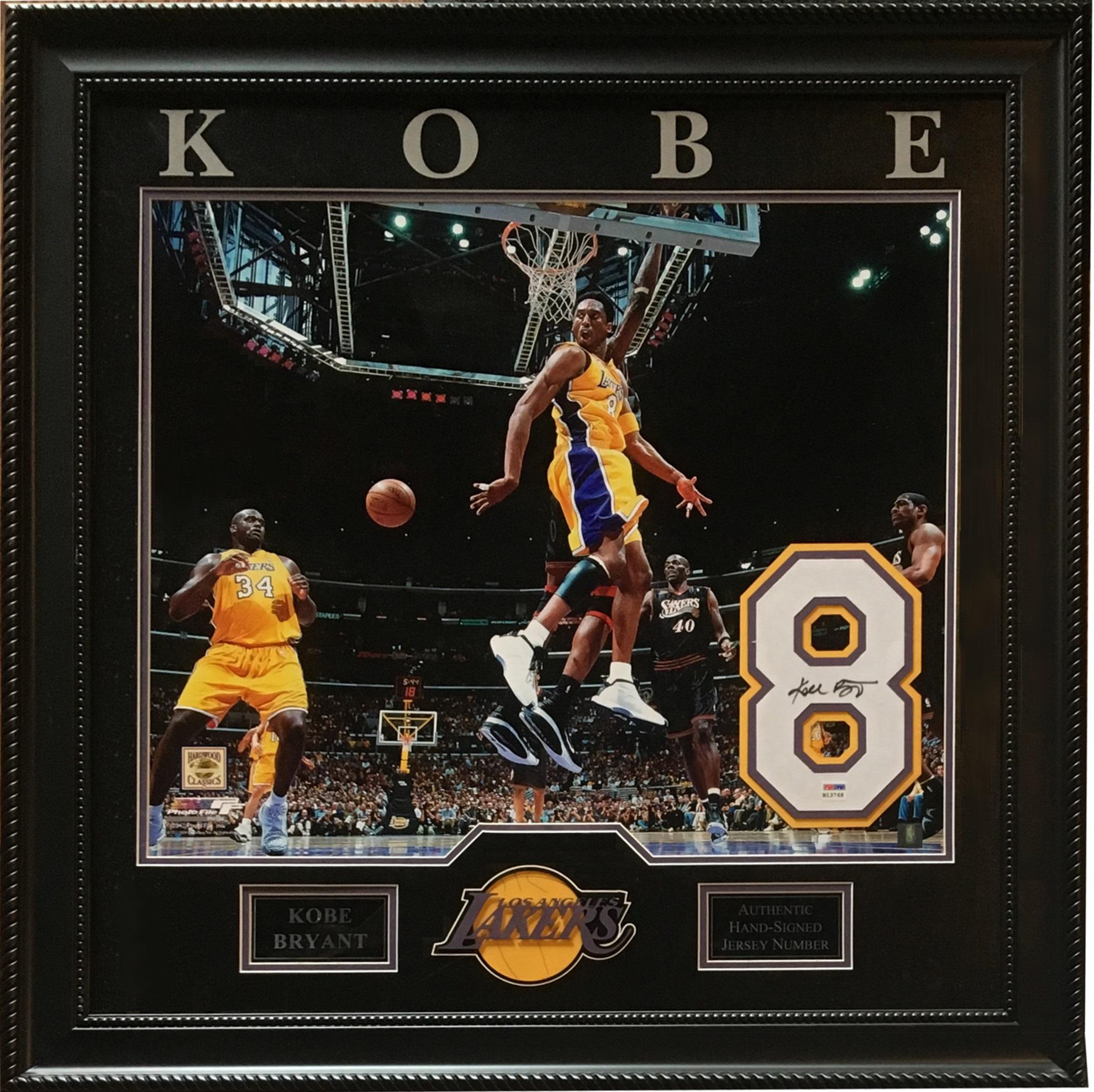 Kobe Bryant Signed Lakers #8 Jersey # 2001 finals 20×24 PHOTO framed PSA coa