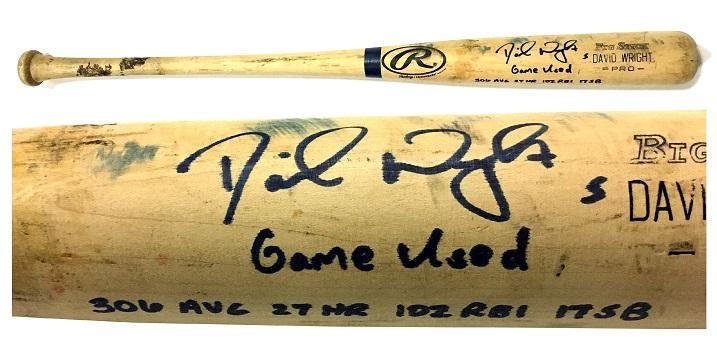 David Wright signed INS game used 2005 Seasons stats 34″ Rawlings Big Stick Baseball Bat COA