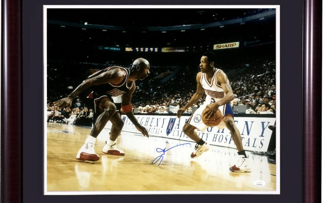 Allen Iverson signed 16×20 Michael Jordan photo framed autograph HOF JSA COA