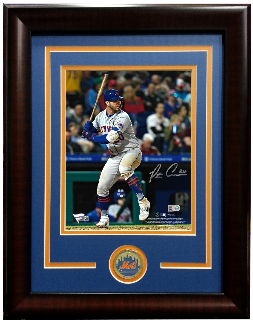Pete Alonso signed 8×10 photo framed Mets coin Rookie Auto MLB holo Fanatics