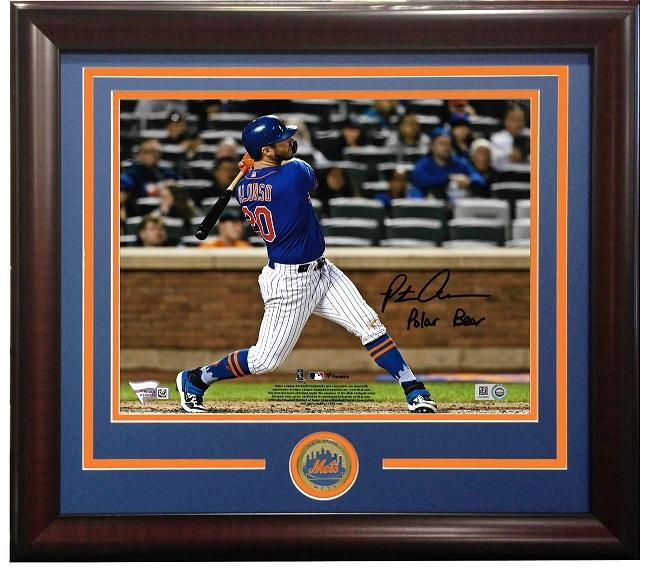 Pete Alonso signed 8×10 photo INS Polar Bear framed Mets Rookie Auto Fanatics