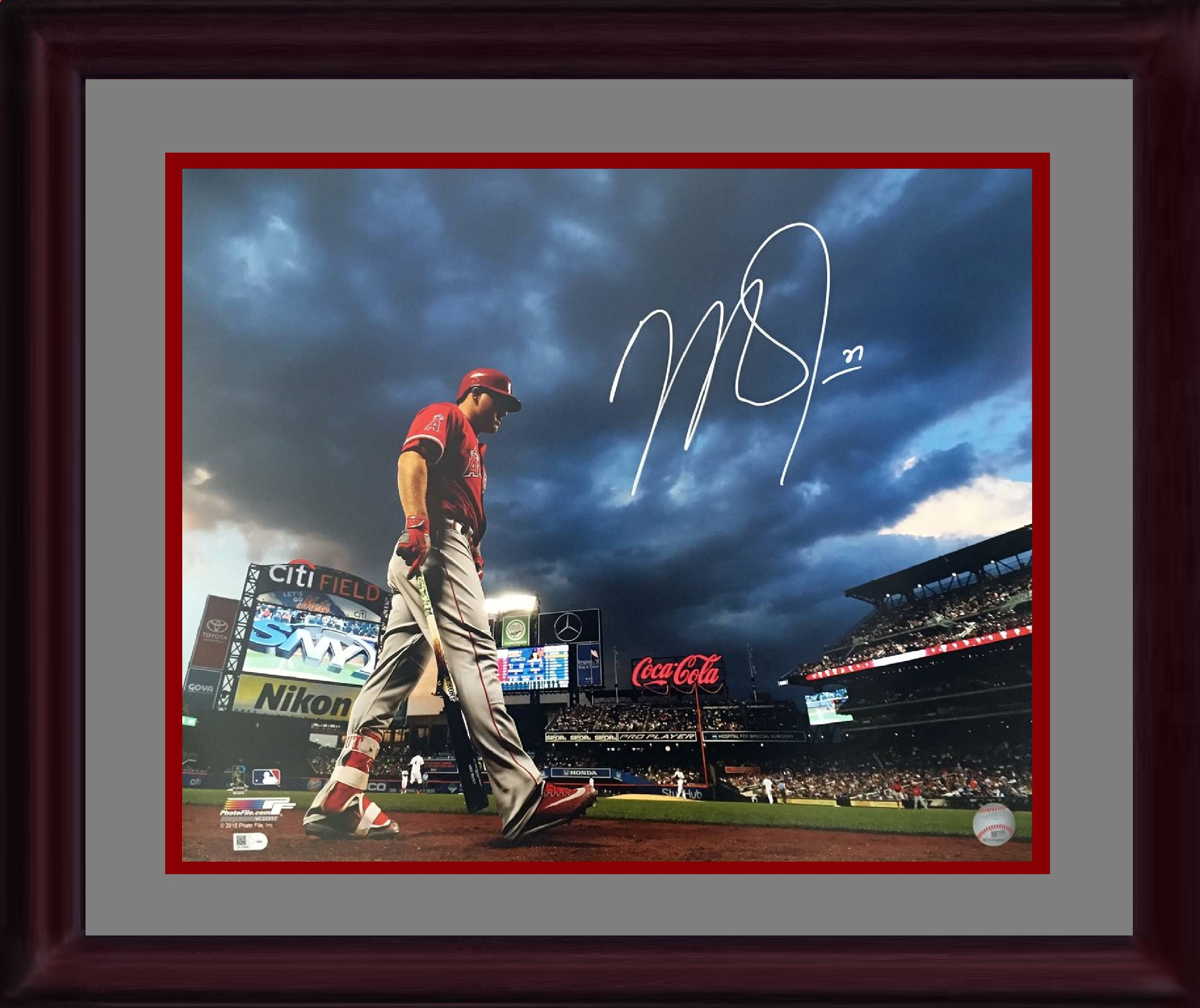 Mike Trout Angels signed 16×20 Citi Field photo framed autograph Steiner COA