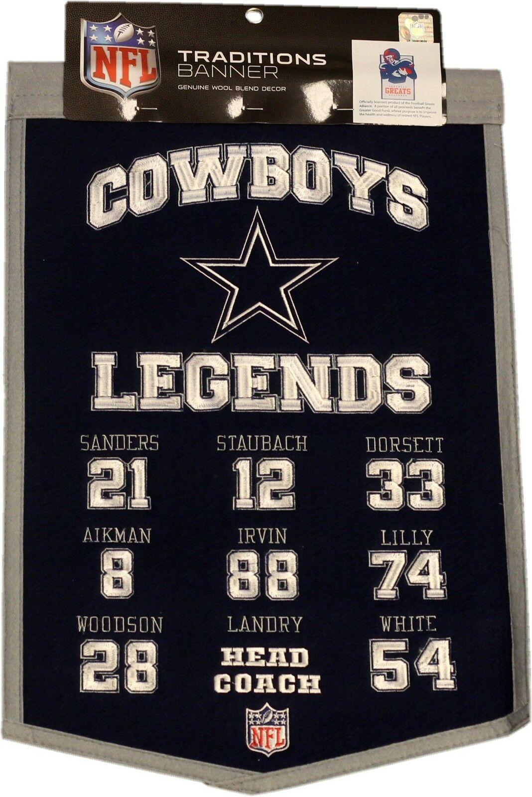 Dallas Cowboys Legends 14×22 Retired Numbers Felt Banner NFL Troy Aikman