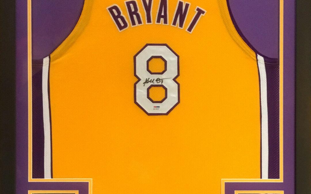 Kobe Bryant signed Lakers #8 Basketball jersey framed Rookie Autograph PSA COA
