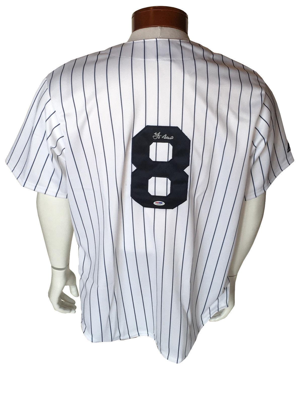 Yogi Berra signed Yankees #8 Majestic baseball jersey HOF PSA DNA COA