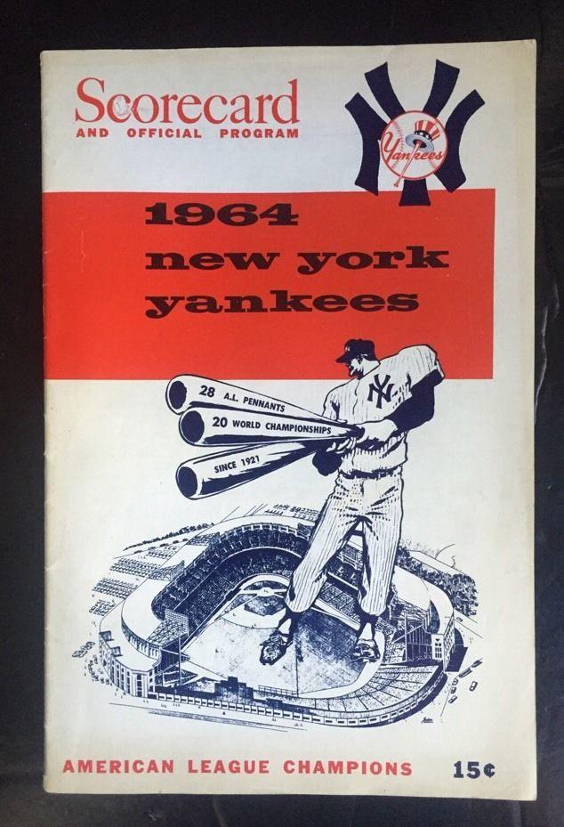 1964 MICKEY MANTLE HR 4 Rbi New York Yankees program scorecard Nm 3 Hits Rare