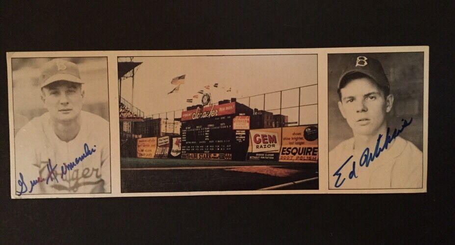 1983 TCMA BROOKLYN DODGERS BOYS OF SUMMER SIGNED CARD EBBETS FIELD MISKIS HERMAN