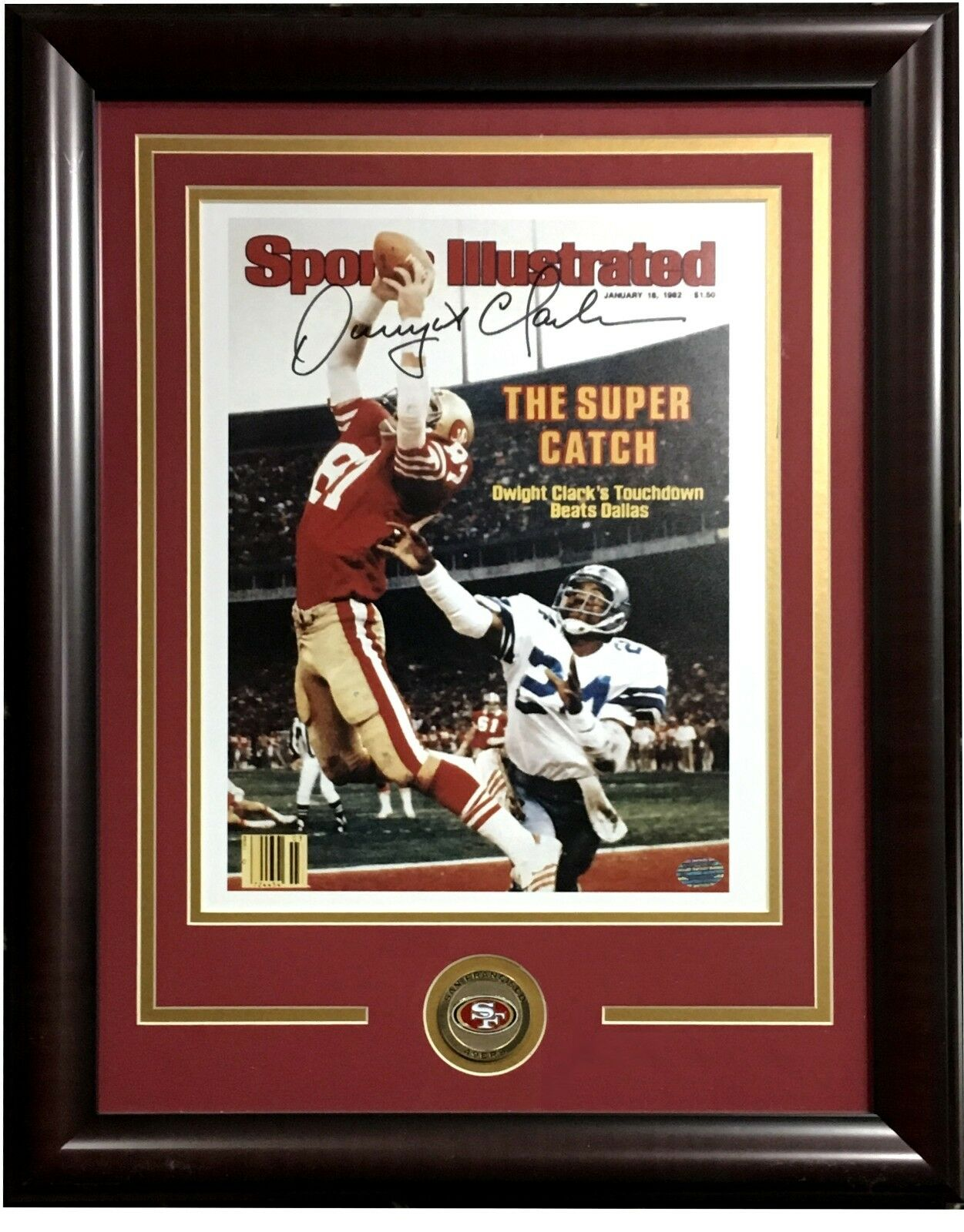 Dwight Clark Signed 11×14 SI catch photo framed 49ers coin autograph Holo COA