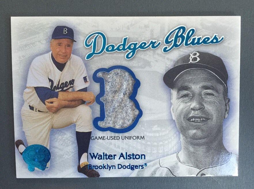 2001 Fleer WALTER ALSTON Brooklyn Dodgers Game Used Jersey Dodger Blues Mint