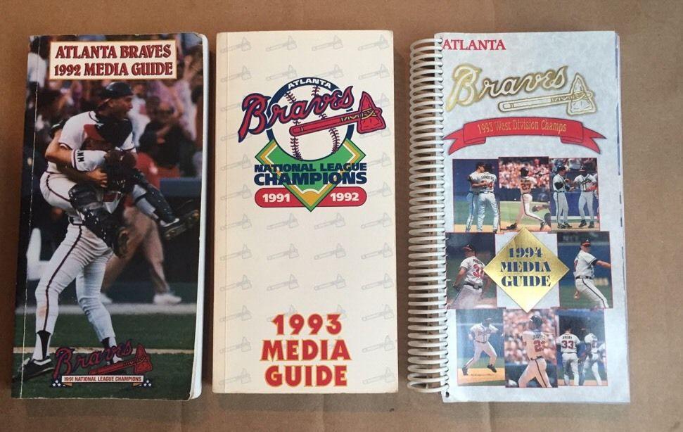 Atlanta Braves Media Guide Yearbook 1992 1993 1994 Greg Maddux Smoltz 3 Lot nm