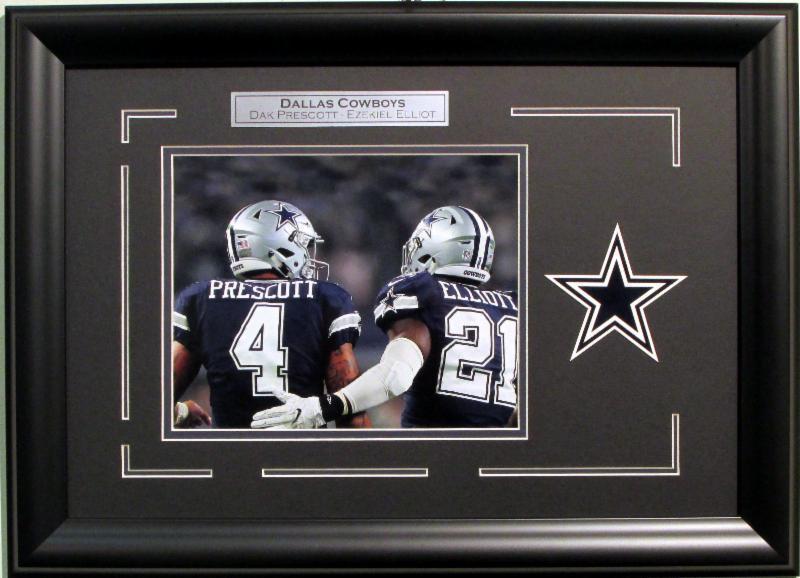 Dak Prescott & Ezekiel Elliott 8×10 ROOKIE photo Dallas Cowboys logo framed