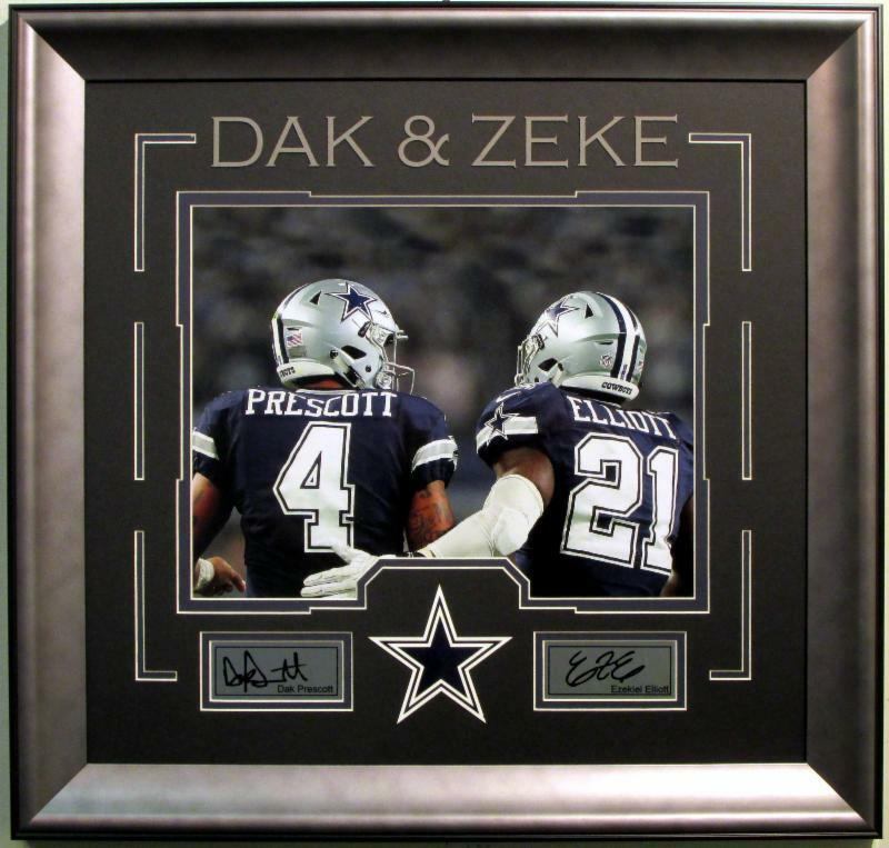 Dak Prescott Ezekiel Elliott 11×14 photo & Dallas Cowboys logo collage framed