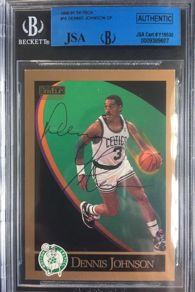 Dennis Johnson 1990 – 91 Skybox Basketball Card #16 MINT Auto Jsa Coa Beckett