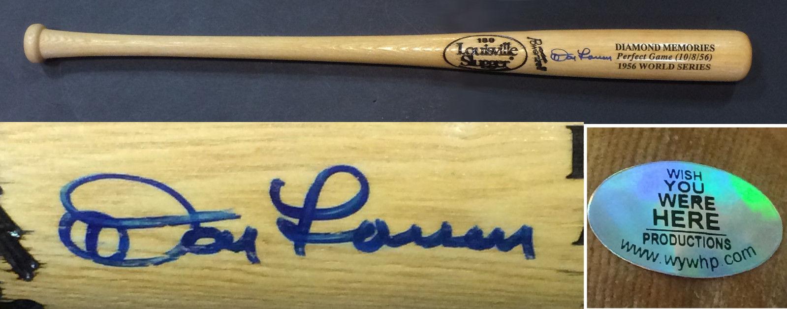 Don Larsen Yankees Signed World Series Perfect game baseball bat auto holo coa