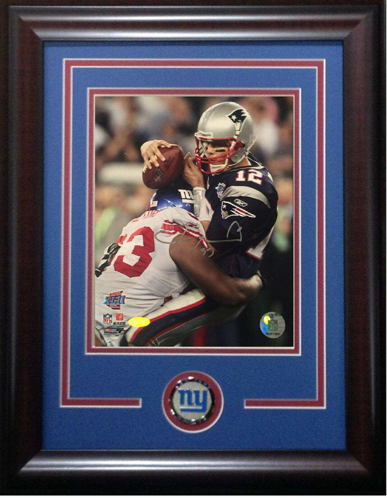 Jay Alford signed 8×10 SB photo framed Giants coin auto Steiner COA Tom Brady