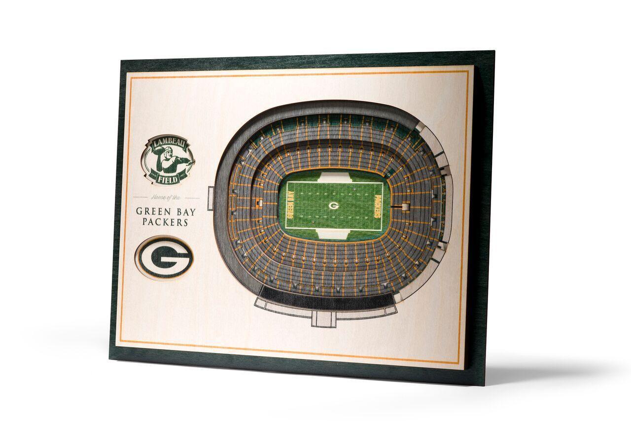 Green Bay Packers 5 Layer StadiumViews Lambeau Field 13×17 3D wood Wall Art