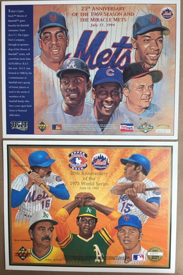 Mets 1969 & 1973 World Series  8X10 Upper Deck Card Mint 2 CARDS LIMITED SEAVER