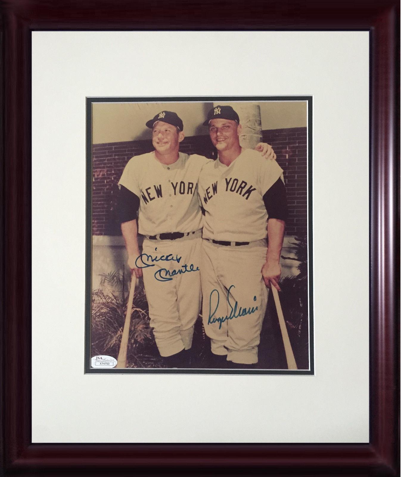 Mickey Mantle Roger Maris Yankees signed 8×10 photo framed Mint auto HOF JSA LOA
