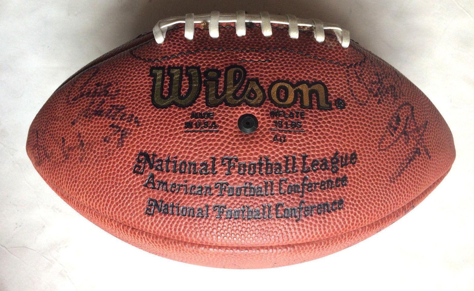 New York Jets signed official NFL football 24 auto Curtis Martin Chrebet CBM COA
