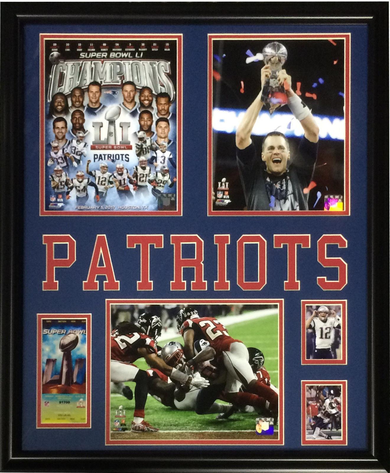 Patriots Super Bowl 51 Champions 5 photo ticket framed Tom Brady MVP 22×27