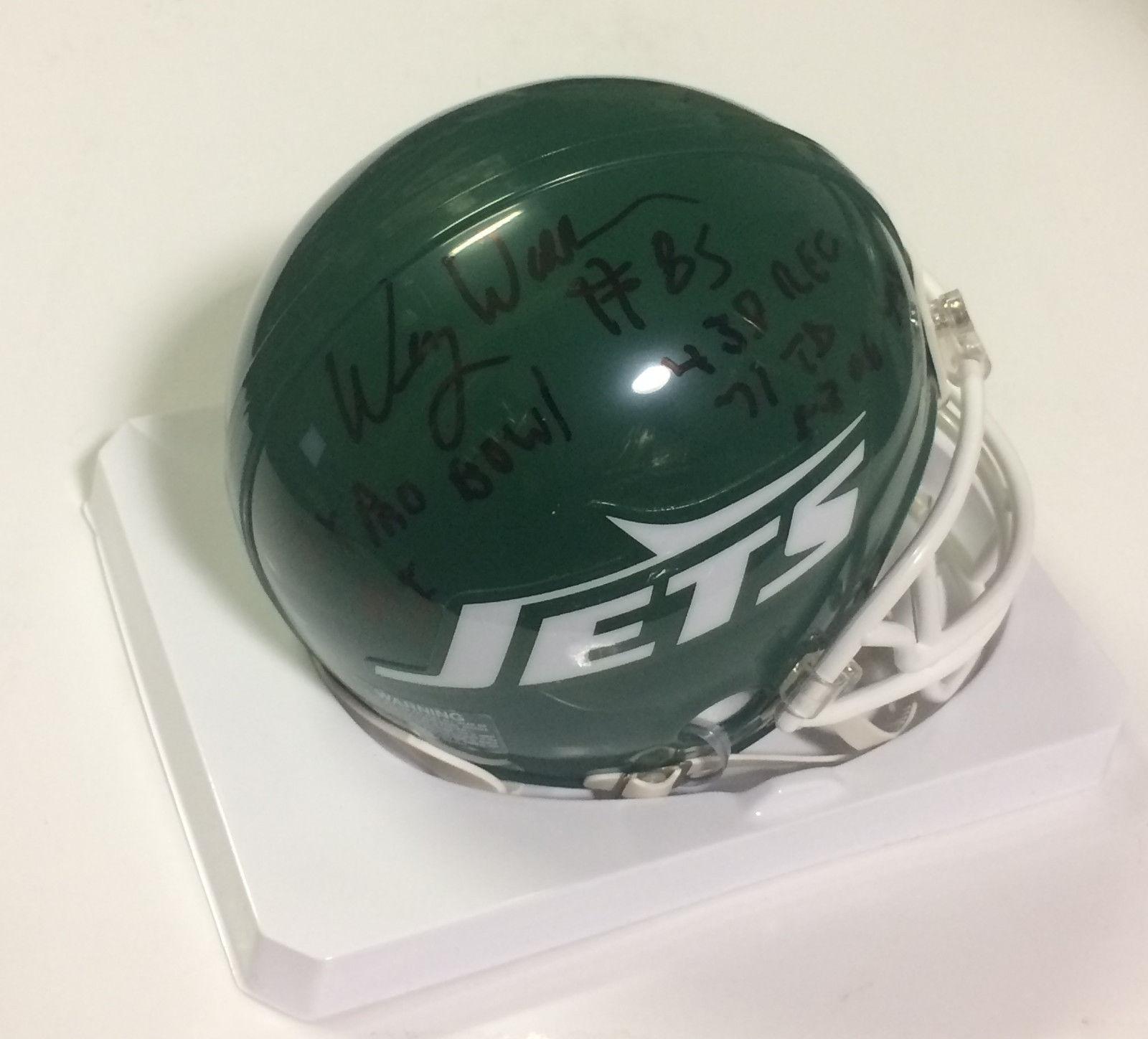 Wesley Walker signed NY Jets throwback stat mini helmet auto Rare INS CBM COA