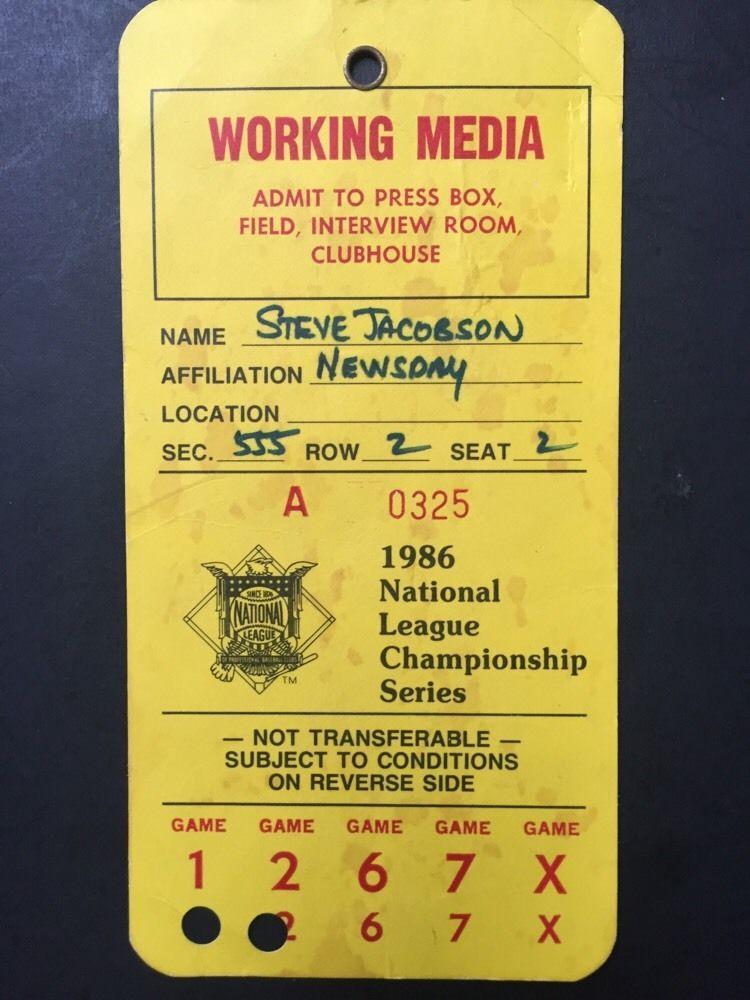 1986 Nlcs Championship Media PRESS Pass Ticket Ny Mets Shea Stadium Jacobson