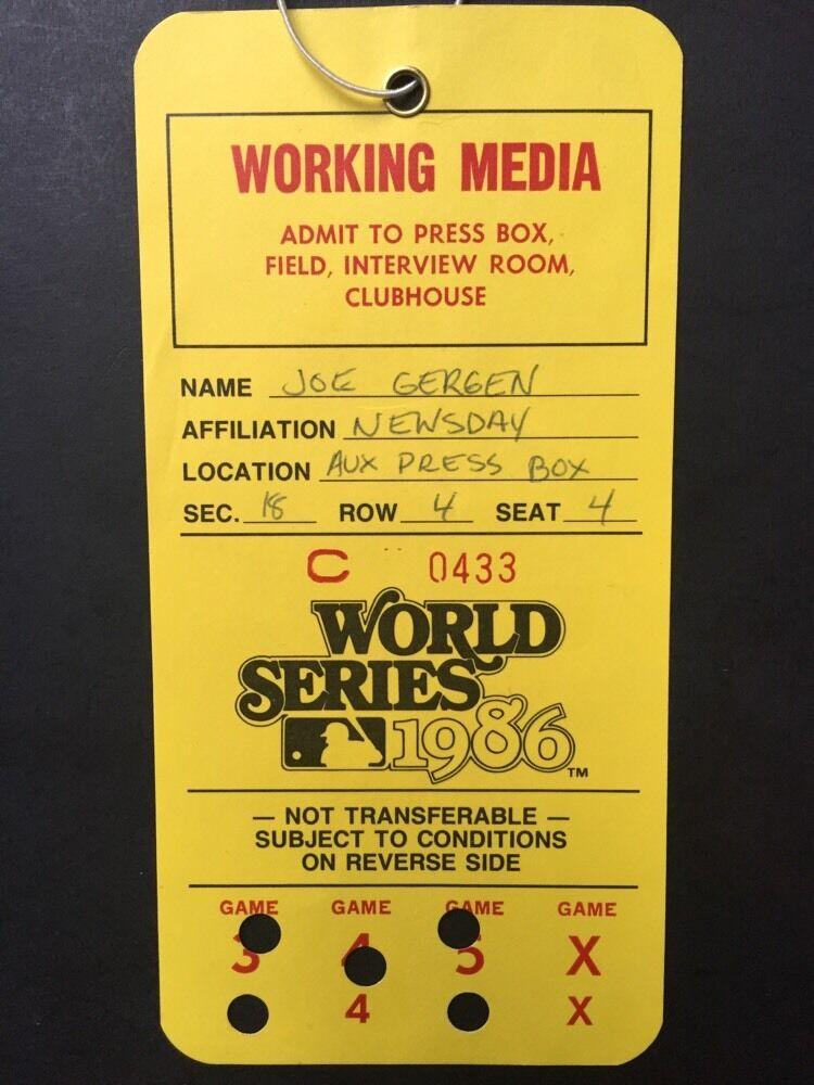 1986 World Series Press Media Pass Ticket Ny Mets Red Sox Shea Stadium Mint Rare