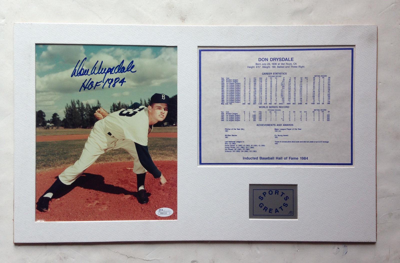 Don Drysdale Signed 8X10 PHOTO Collage Brooklyn Dodgers Ins Hof 1984 MT Auto JSA