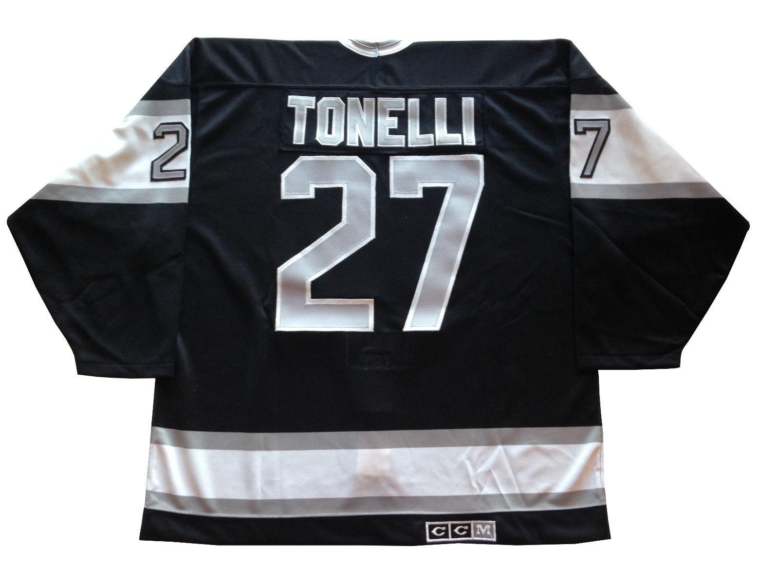 John Tonelli game issued  LA Kings CCM Maska Hockey jersey fight strap Islanders