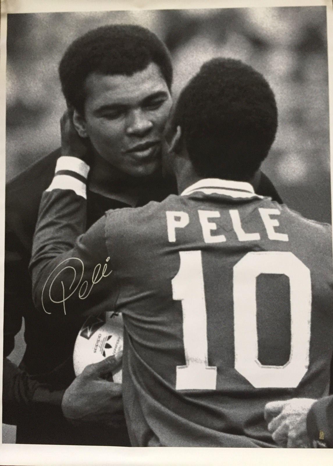 Muhammad Ali & Pele Signed 42X34 Large Canvas Pele Holo Coa Mint Auto SOCCER