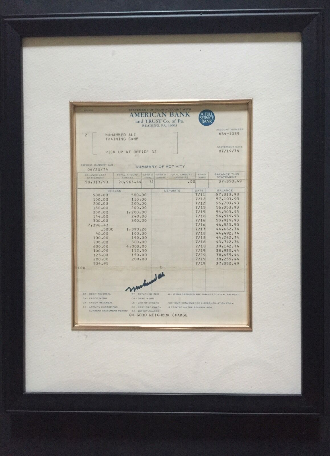Muhammad Ali Signed 1974 Training Camp Bank Statement Check Mt 1/1 Auto Jsa Coa