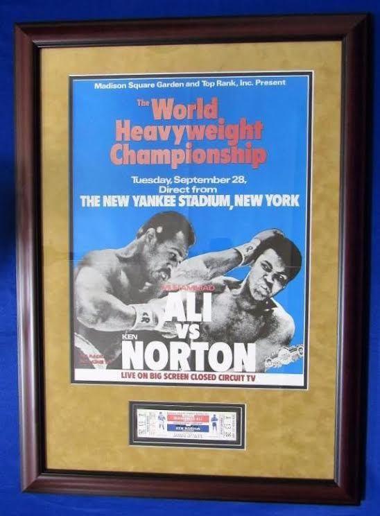Muhammad Ali signed heavyweight title fight ticket framed auto fight poster JSA