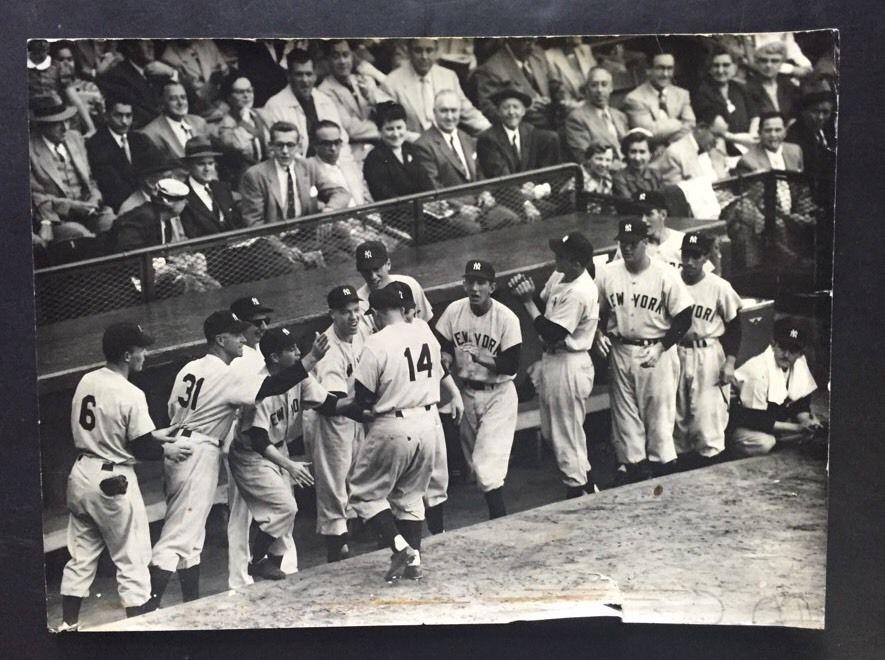 New York Times Yankees 11X14 1953 World Series Wire Photo Dimaggio Mantle Martin