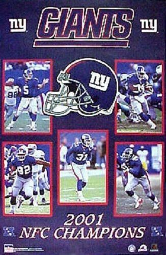 NY Giants 2001 Starline Giants Nfc Champs Football Sealed Poster MICHAEL Strahan