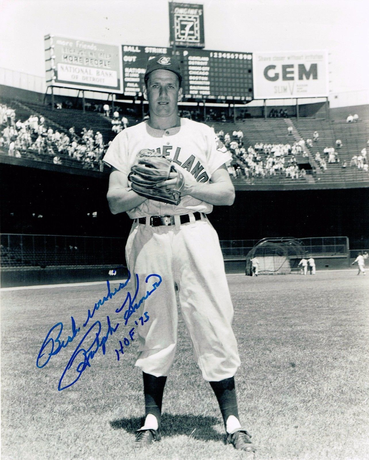 Ralph Kiner Signed 8×10 Photograph Ins HOF 75 Best Wishes Indians HOF Auto COA