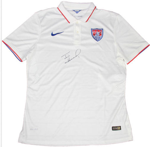 Tim Howard Signed USA White Collar US On Field Nike Jersey Auto JSA COA