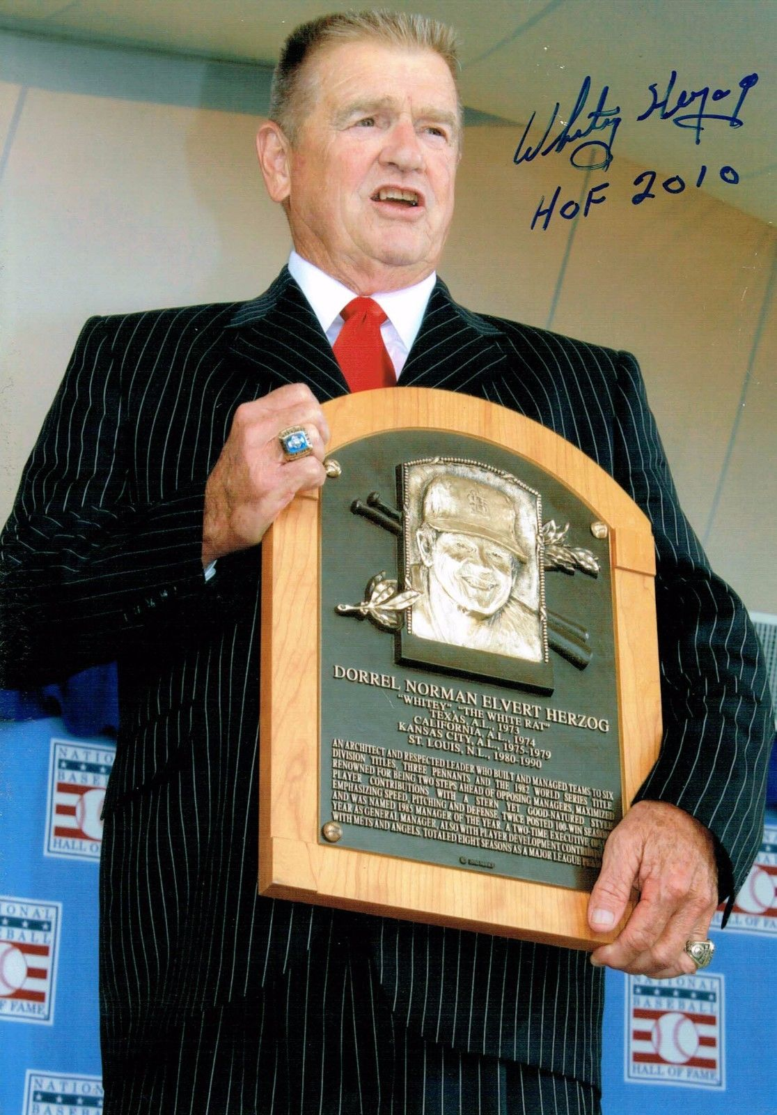 Whitey Herzog Signed 6×8 Photo Ins HOF 2010 MANAGER Cardinals Autograph CBM COA