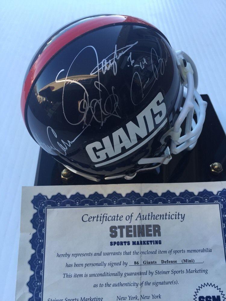 1986 Ny Giants Defense Signed SB Mini Helmet 8 Auto Taylor Carson Banks Steiner