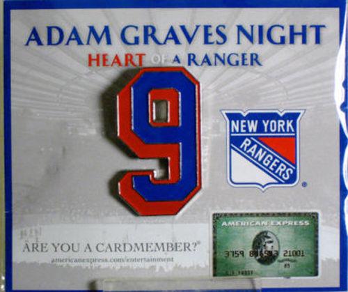 Adam Graves Retirement Night Jersey Banner #9 Pin NY Rangers Sealed SGA MINT NEW